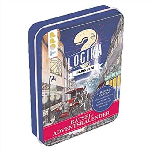 Rätsel-Adventskalender - Logika Paris 1920: 24 Rätselkarten aus der goldenen Zeit von Nachtclubs, Kunstikonen und Jazzbands. Mit illustriertem Stadtplan und 24 Stickern. Metalldose ca. 15 cm x 10,5 cm