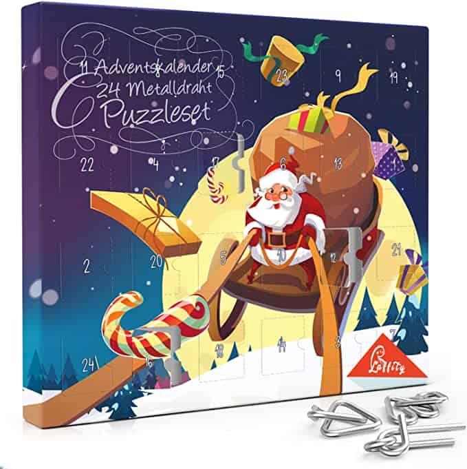 Laffity Adventskalender 2020, 24 Stück Knobelei aus Metall, Knifflige Rätselspiele und Spannende Knobeltricks, Kinder Teenager & Erwachsene Weihnachten Geschenk