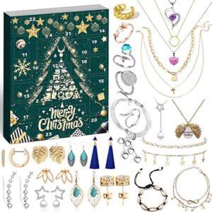 iZoeL Adventskalender Frauen Schmuck 2020 Schmuckkalender Weihnachtskalender Mädchen 24 tolle Überraschung wie Halskette Ringe Ohrringe Armbänder