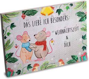 Mr. & Mrs. Panda Schoko Adventskalender, Adventskalender, Adventskalender Schokolade Weihnachtsmäuse mit Spruch - Farbe