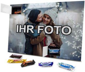 XL Adventskalender Mixed Minis mit eigenem Foto - gefüllt mit den Sorten Snickers, Mars, Twix, Bounty und Milky Way
