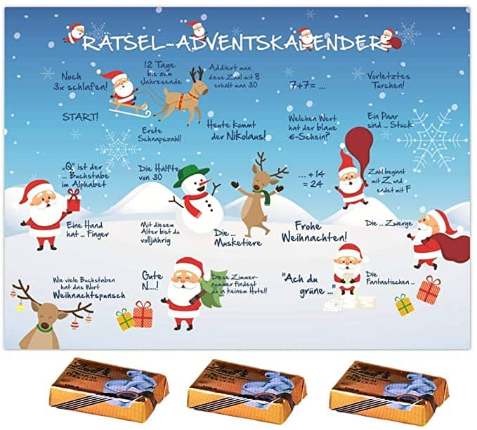 Rätsel Adventskalender mit Lindt Schokolade