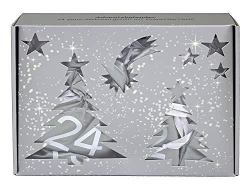 BriConti Make-Up Adventskalender Satin Bags silber/weiß, 24 Säckchen