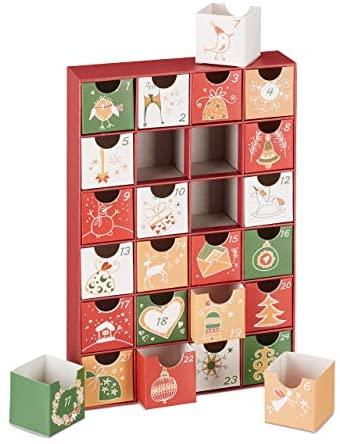 Relaxdays Adventskalender zum selbst Befüllen, 24 Boxen, wiederverwendbar, Kinder & Erwachsene