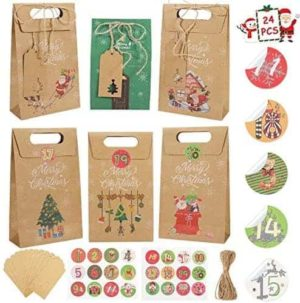 Gafild Geschenktüten mit Griff Kraftpapier, 24 Adventskalender zum Befüllen Geschenktüten Weihnachten