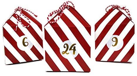 Cavore Selbstgemachter Adventskalender zum Befüllen – Weihnachtskalender DIY Set mit 24 Boxen