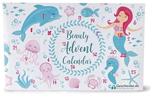Mermaid Beauty Adventskalender für Mädchen & Frauen, 24 Kosmetik & Pflege Überraschungen