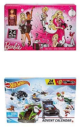 Barbie GFF61 Glitzer-Fashion und Hot Wheels Adventskalender Set