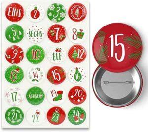 24 Adventskalender Buttons 35 mm