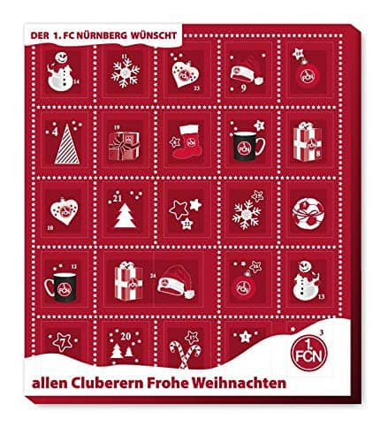 1. FC Nürnberg - Adventskalender 2020 - Weihnachtskalender mit Premium mit Poster - Kalender - Bundesliga - Fußball - Fairtrade + Girlande - (7,95 € /100 g)