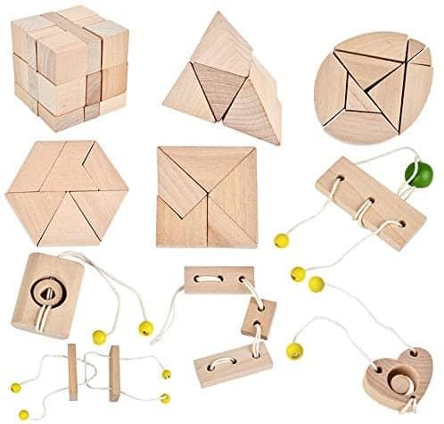3D IQ Holzpuzzle - 10 Mini Knobelspiele