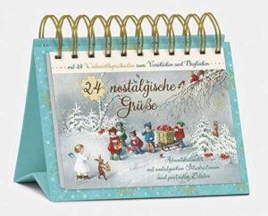 Tisch-Adventskalender 24 nostalgische Grüße: Postkartenkalender zum Aufstellen
