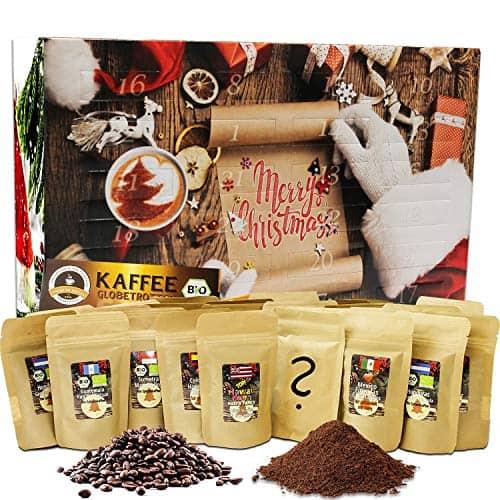 C&T Kaffee-Adventskalender Bio/Fair (Gemahlen) 2020 mit 24 Biologischen, Raritäten- und Fair gehandelten Kaffees für Nespresso®-Maschinen   Kompostierbare Öko-Kapseln