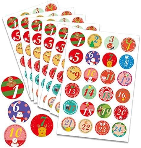 Adventskalender Sticker Zahlen zum aufkleben