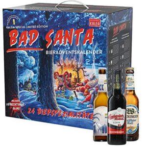 Kalea Bier-Adventskalender 2020   Edition Bad Santa   24 Deutsche Bier-Spezialitäten und 1 exklusivem Verkostungsglas   24 x 0,33 l Flaschen