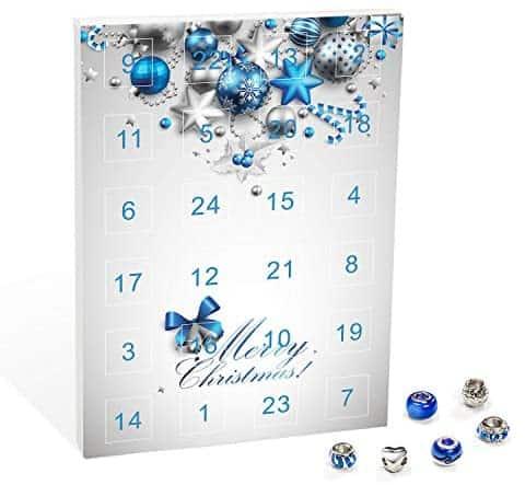Mode-Schmuck Adventskalender mit Halskette, Armband + 22 individuelle Perlen-Anhänger aus Glas & Metall