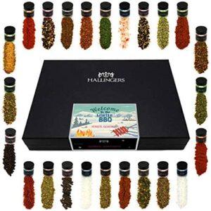 Hallingers 24er Gewürz-Geschenk-Set mit Gewürzen aus aller Welt (425g) - Welcome to the Winter BBQ