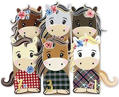 Papierdrachen DIY Adventskalender Kraftpapier Set - ausgestanzte Pferde