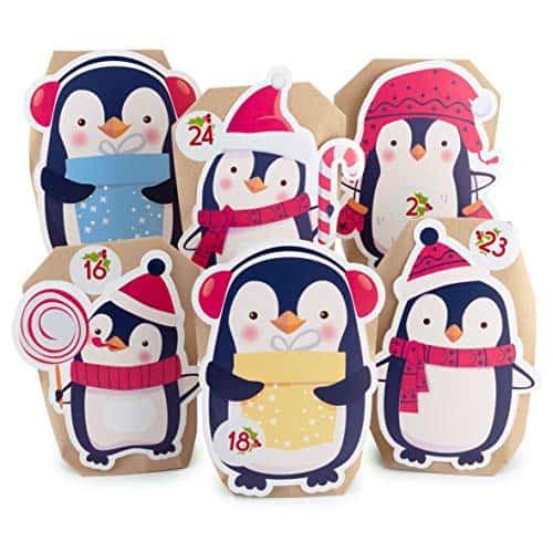 Adventskalender zum Befüllen Pinguin 24 Kraftpapiertüten