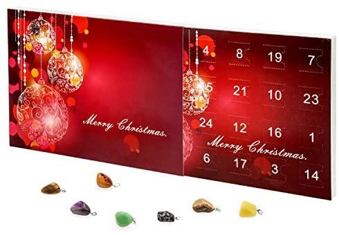 Mode-Schmuck Adventskalender mit Halskette + 23 individuelle Anhänger aus Halb-Edelstein
