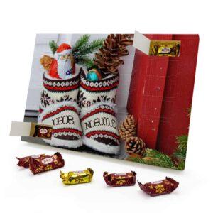Marzipan Adventskalender mit eigenem Namen personalisieren - Motiv Weihnachtsschuhe Marzipan Adventskalender 2351 1 1