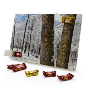 Marzipan Adventskalender mit eigenem Namen personalisieren - Motiv Bäume Marzipan Adventskalender 2493 1 1