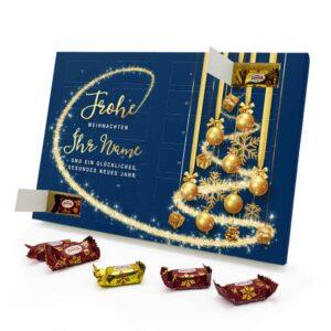 Marzipan Adventskalender mit eigenem Namen personalisieren - Motiv Frohe Weihnachten - Blau Marzipan Adventskalender 2988 1 1