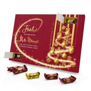 Marzipan Adventskalender mit eigenem Namen personalisieren - Motiv Frohe Weihnachten - Rot Marzipan Adventskalender 2990 1 1