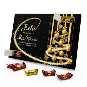 Marzipan Adventskalender mit eigenem Namen personalisieren - Motiv Frohe Weihnachten - Schwarz Marzipan Adventskalender 2991 1 1