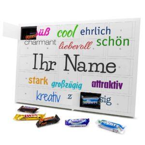 Mixed Minis Adventskalender mit eigenem Namen personalisieren - Motiv Positive Eigenschaften Mixed Minis Adventskalender 2635 1 1