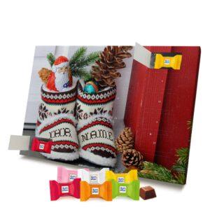 Ritter Sport Adventskalender mit eigenem Namen personalisieren - Motiv Weihnachtsschuhe Ritter Sport Adventskalender 2351 1 1