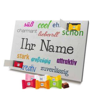 Ritter Sport Adventskalender mit eigenem Namen personalisieren - Motiv Positive Eigenschaften Ritter Sport Adventskalender 2635 1 1