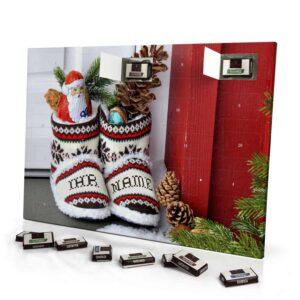 Sarotti Schokoladen Adventskalender mit eigenem Namen personalisieren - Motiv Weihnachtsschuhe Sarotti Schokoladen Adventskalender 2351 1 1