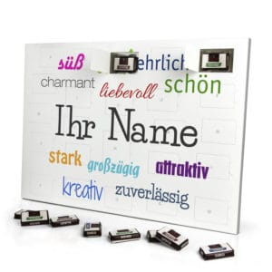 Sarotti Schokoladen Adventskalender mit eigenem Namen personalisieren - Motiv Positive Eigenschaften Sarotti Schokoladen Adventskalender 2635 1 1