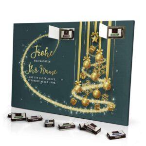 Sarotti Schokoladen Adventskalender mit eigenem Namen personalisieren - Motiv Frohe Weihnachten - Grün Sarotti Schokoladen Adventskalender 2989 1 1