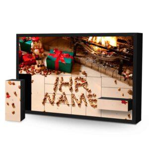 Schachtel Adventskalender mit eigenem Namen personalisieren - Motiv Kamin mit Nüssen Schachtel Adventskalender 2254 1 1