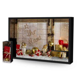 Schachtel Adventskalender mit eigenem Namen personalisieren - Motiv Weihnachtsfenster Schachtel Adventskalender 2462 1 1