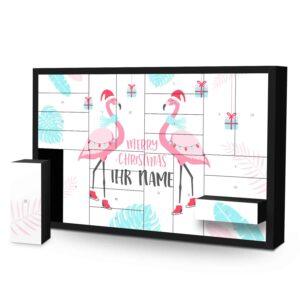 Schachtel Adventskalender mit eigenem Namen personalisieren - Motiv Flamingo Schachtel Adventskalender 2827 1 1