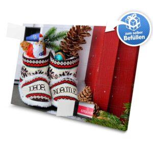 XL Adventskalender mit eigenem Namen zum selbst Befüllen - Motiv Weihnachtsschuhe selbst befuellen Adventskalender 2351 1 1