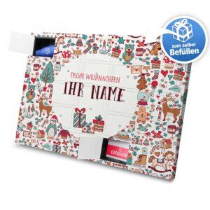 XL Adventskalender mit eigenem Namen zum selbst Befüllen - Motiv Weihnachtssymbole selbst befuellen Adventskalender 2638 1 1