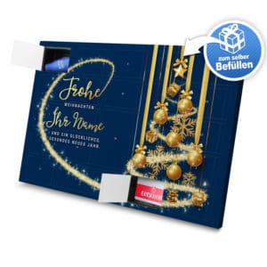 XL Adventskalender mit eigenem Namen zum selbst Befüllen - Motiv Frohe Weihnachten - Blau selbst befuellen Adventskalender 2988 1 1